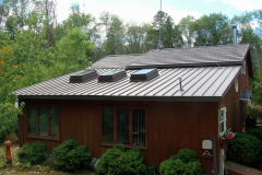 Standing Seam and Rustic Metal Roofing Shingle in Mustang Brown