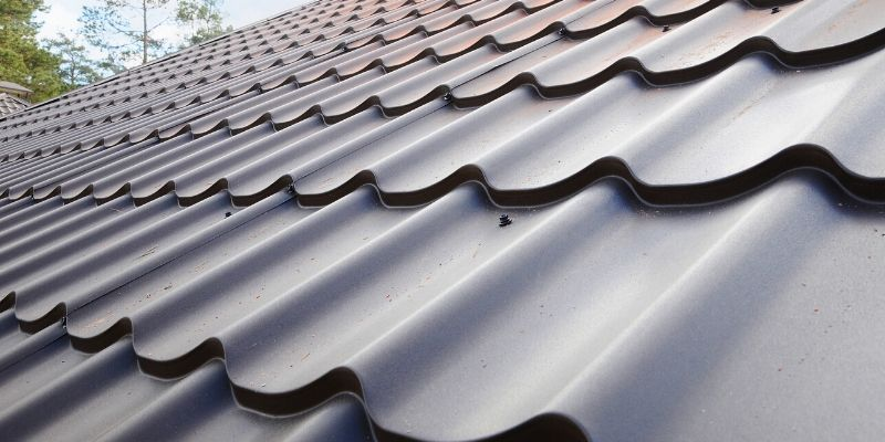 A close-up of a corrugated metal roof.